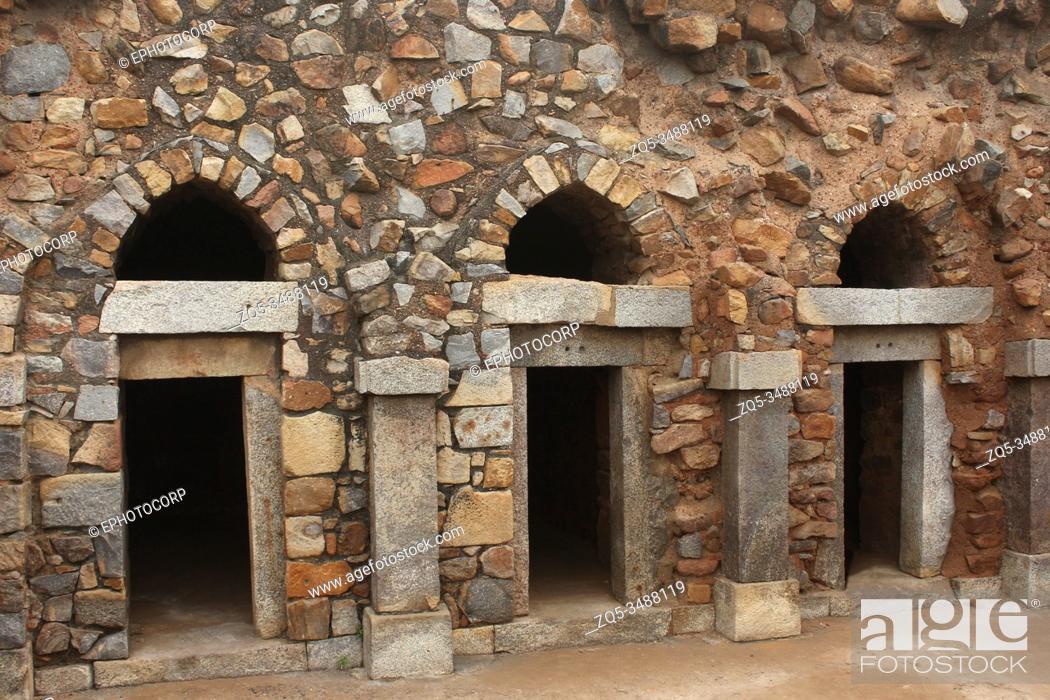 Stock Photo: Old structure of architecture at Hauz Khas village, Delhi, India.