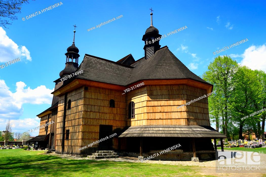 Stock Photo: Kosciol Swietej Trójcy, wooden Pilgrimage Church of the Holy Trinity, church from 18th century (1724), end-fitted log framework construction.