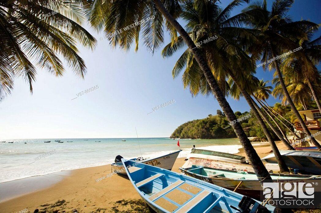 Stock Photo: Charming fishing village near Englishman's Bay on the Caribbean side of Tobago NR.
