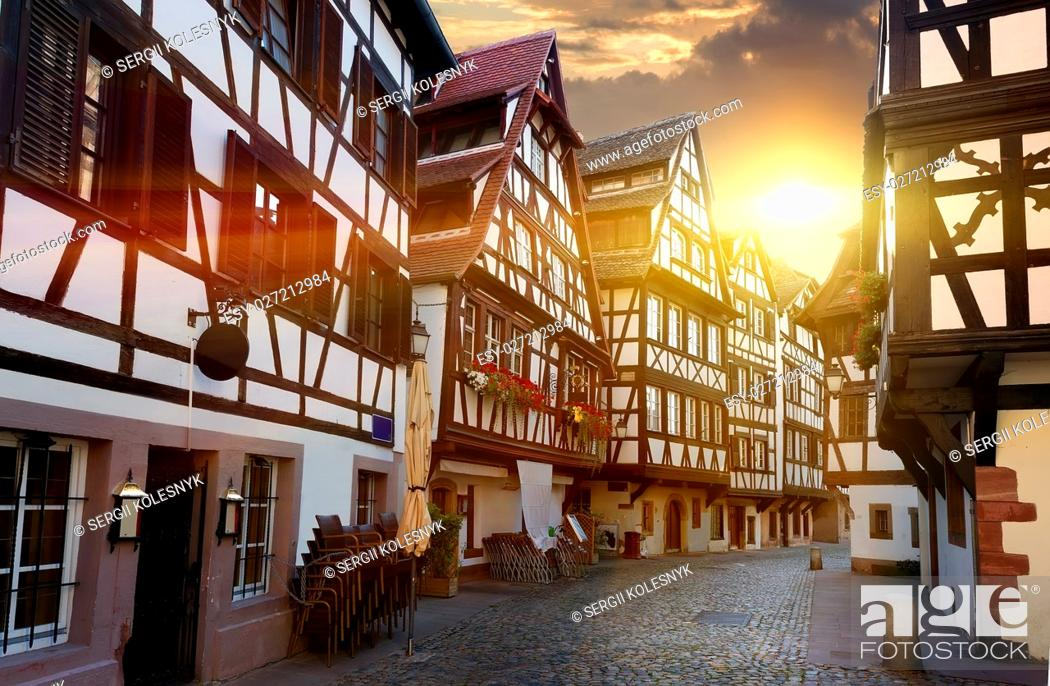 Stock Photo: Street with historical half-timbered houses in Petite France district in Strasbourg, France.