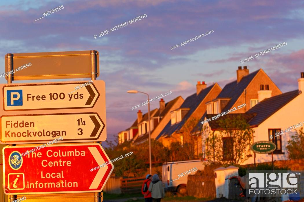Stock Photo: Road sign at Fionnphort, Mull, Inner Hebrides, Argyll and Bute, Scotland, United Kingdom, Europe.