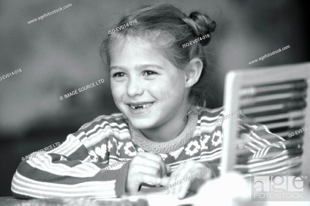 Stock Photo: Girl studying.