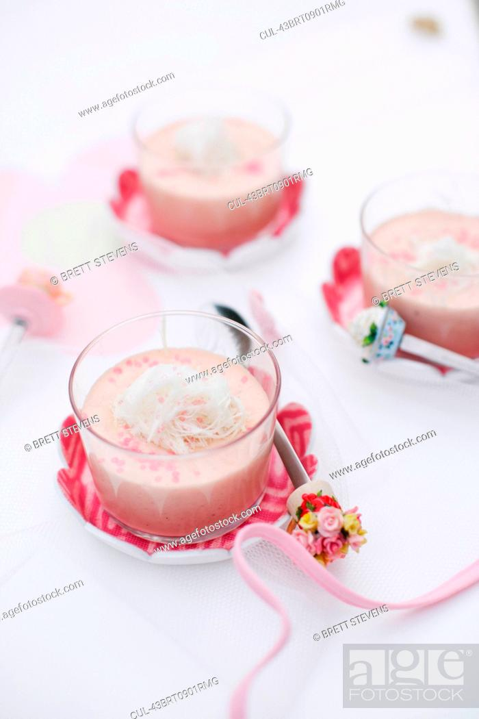 Stock Photo: Cups of custard with coconut.