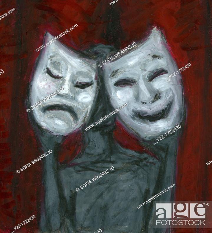 Stock Photo: Holding sad and happy masks.