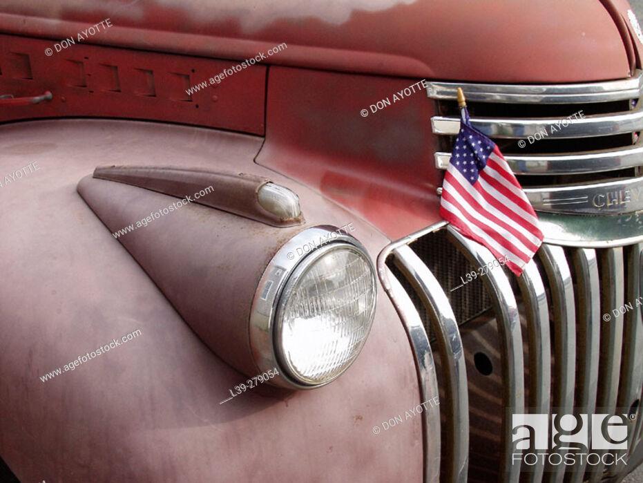 Stock Photo: Truck shot on Orange Street. Nantucket. Massachusetts. USA.