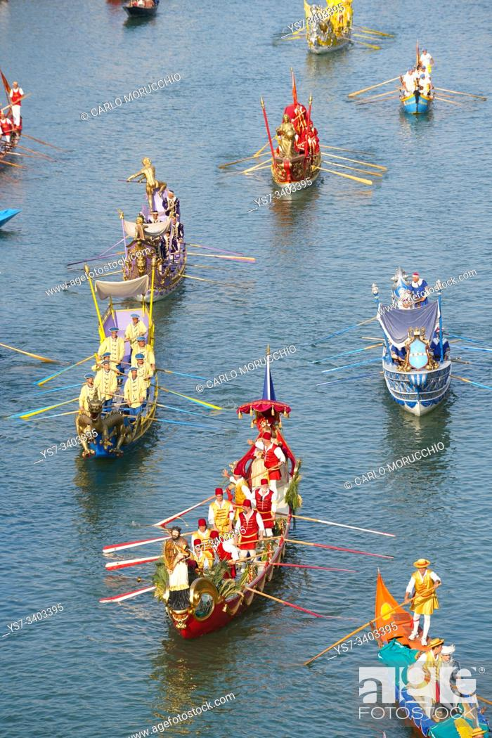 Stock Photo: The boats of the historical procession for the historical regatta on the Grand canal of Venice, Italy, Europe.