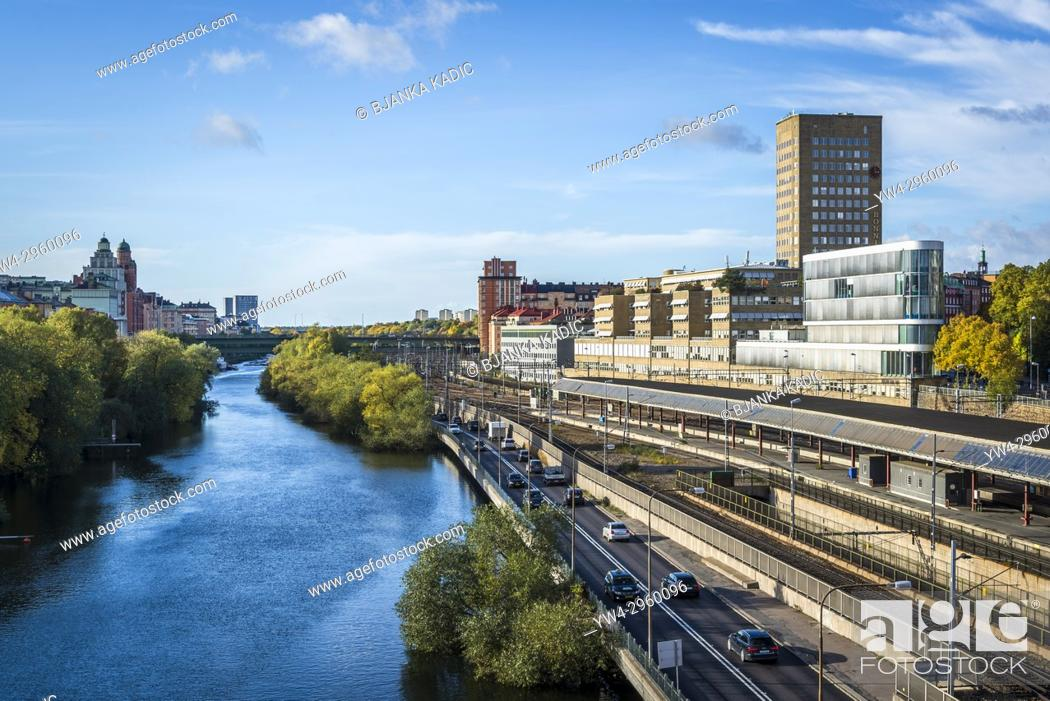 Stock Photo: Ring Road along Klara canal, Norrmalm, Stockholm, Sweden.