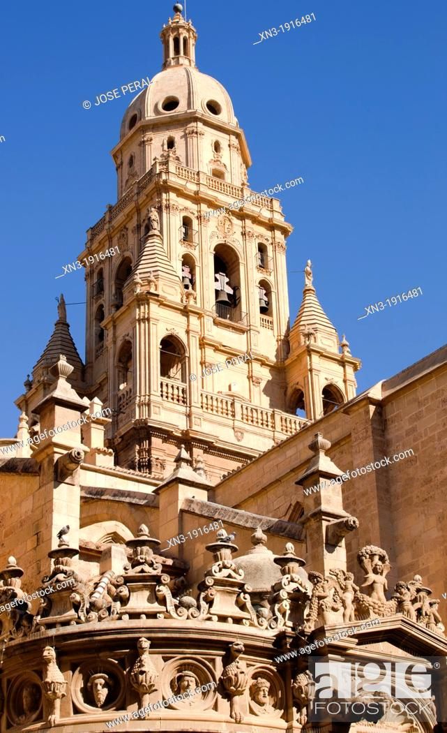 Stock Photo: Bell Tower, Cathedral of Saint Mary, City of Murcia, South Eastern, Spain, Europe.