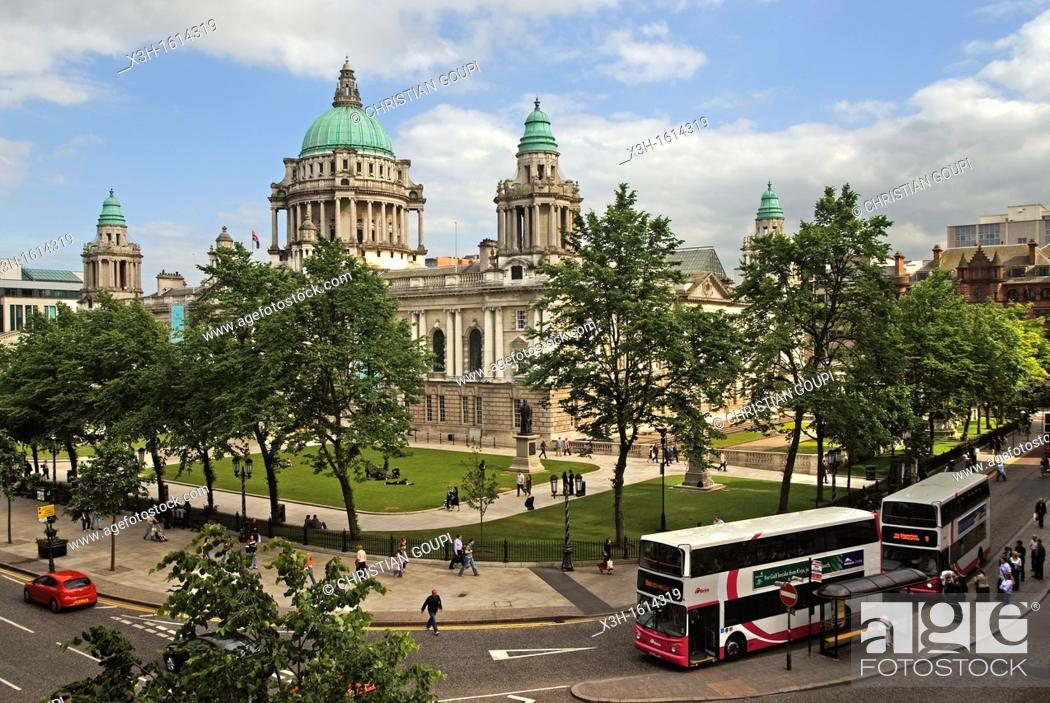 Stock Photo: City Hall in Donegall Square, Belfast, County Antrim, Northern Ireland, United Kingdom, Western Europe.