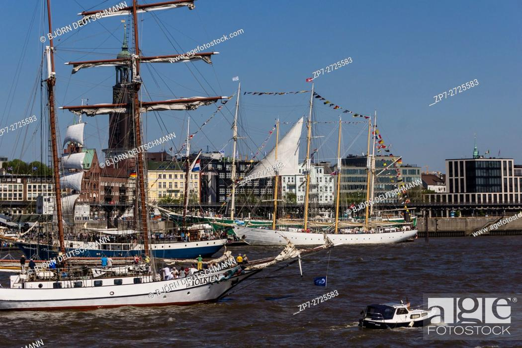 Stock Photo: Hamburg, Germany - May 7th 2016: Impressions from the third day of Hamburg Harbor Birthday 2016.