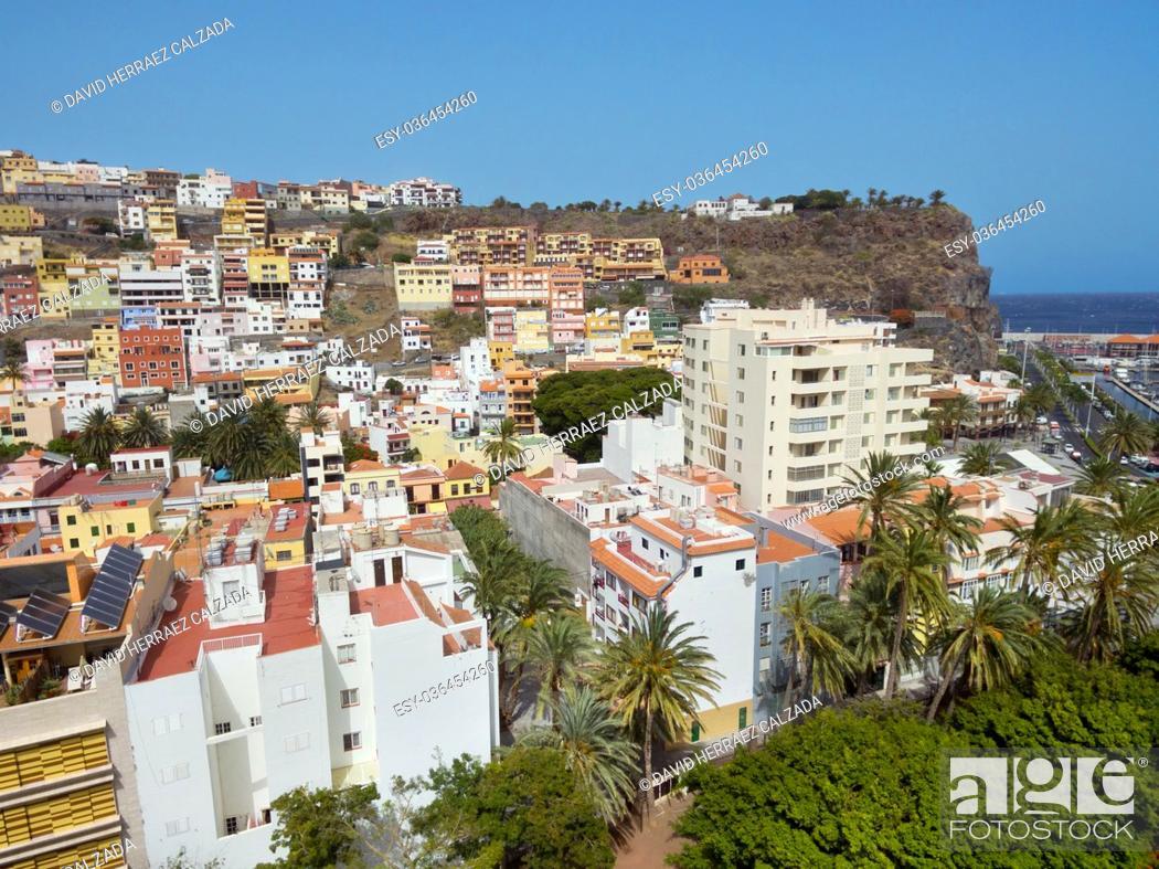 Stock Photo: Aerial view of San Sebastian de la Gomera cityscape, Canary island, Spain.
