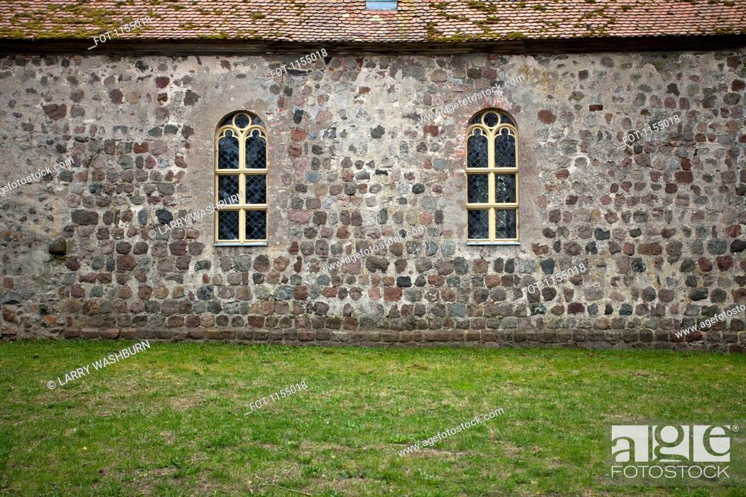 Stock Photo: Stone facade of church.