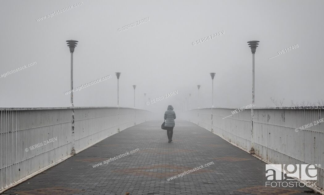 Stock Photo: Odessa, Ukraine. Mother-in-law bridge in Odessa, Ukraine, on a foggy autumn day.