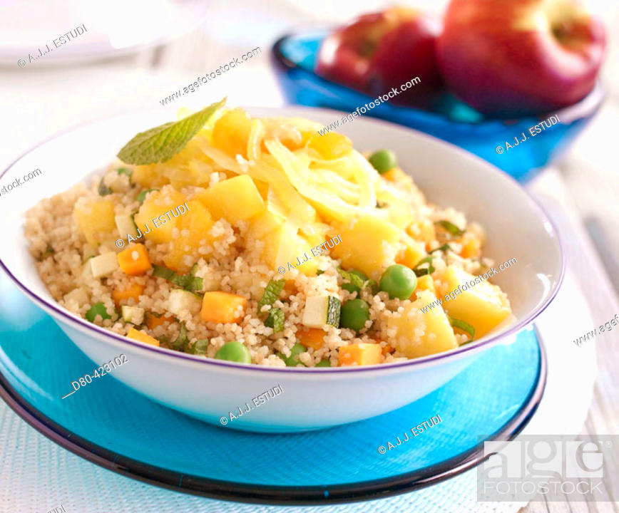 Stock Photo: Fruits and vegetables cous cous.