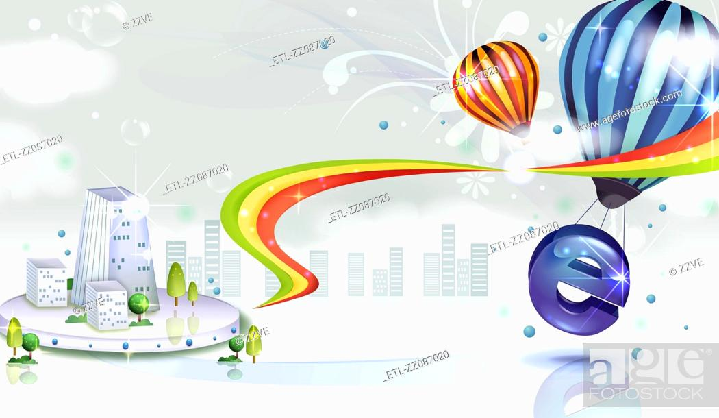 Stock Photo: Internet Explorer sign with air balloon and city vector.