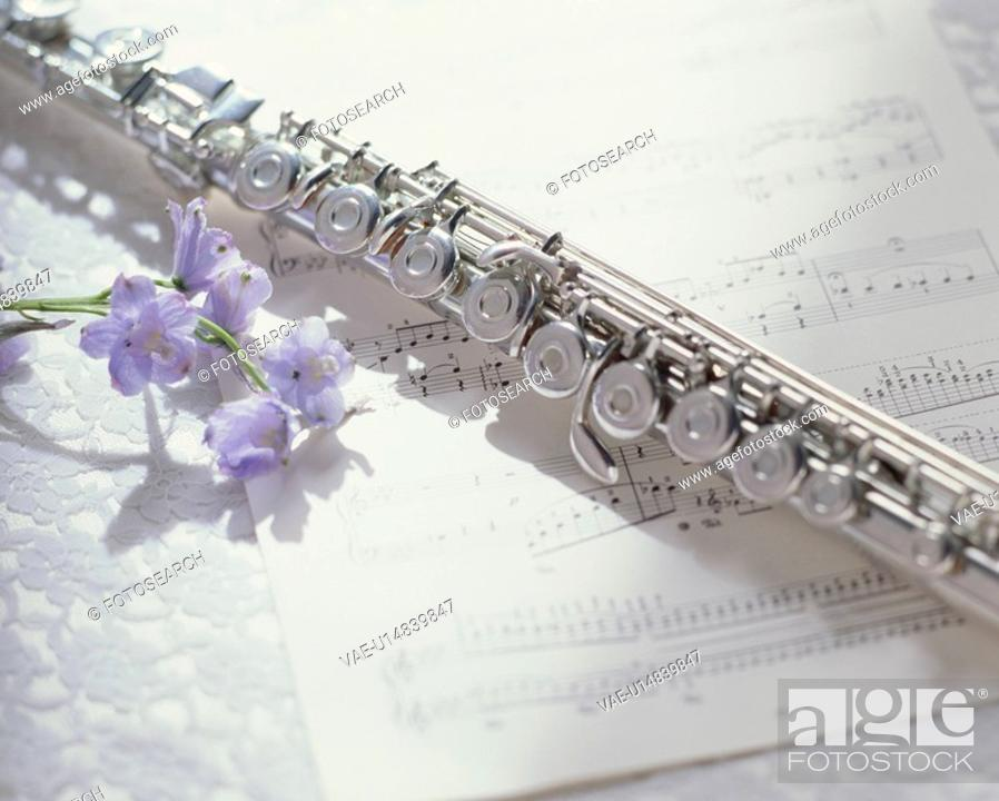 Stock Photo: A Score, A Flute, And A Flower.
