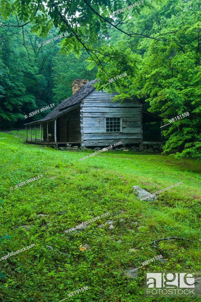 Stock Photo: Ogle Cabin in the Late Spring in the Roaring Fork Area of the Great Smoky Mountains.