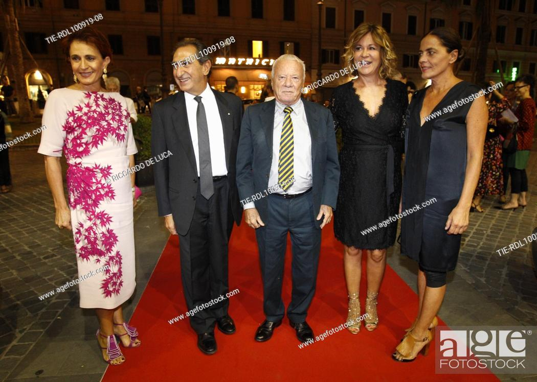 Stock Photo: Art critic Achille Bonito Oliva (C) arrives at the Premiere of theatrical performance ' Waiting for the Sibyl ' at Opera Theatre of Rome, ITALY-10-09-2019.