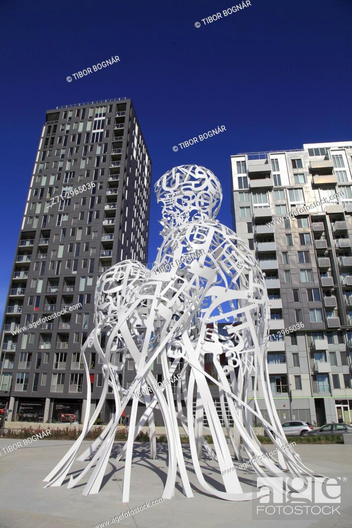 Stock Photo: Canada, Quebec, Montreal, Source, sculpture by Jaume Plensa,.