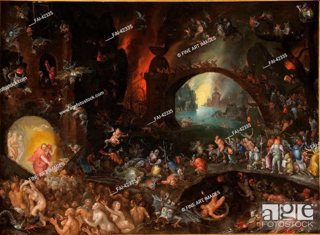 Stock Photo: Christ in Limbo by Brueghel, Jan, the Elder (1568-1625)/Oil on canvas/Baroque/ca 1595/Flanders/Galleria Colonna, Rome/Bible/Painting/Christi Abstieg in die.