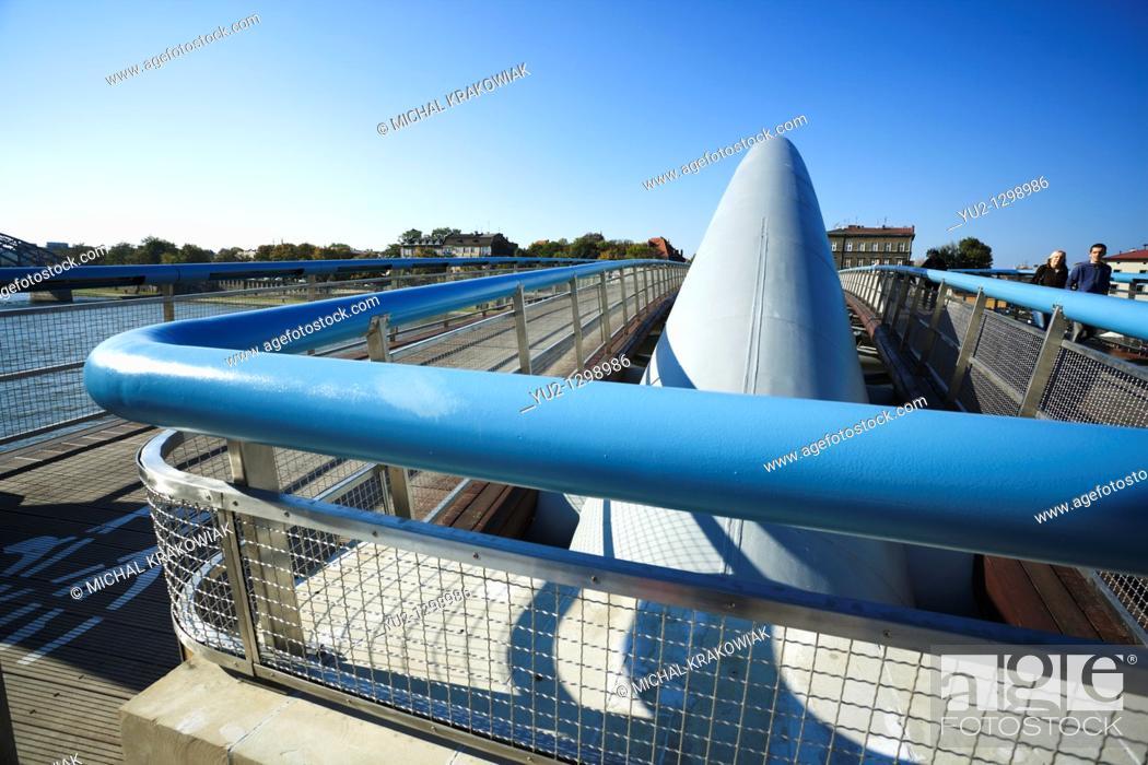 Stock Photo: Bernatka footbridge in Krakow, Poland.