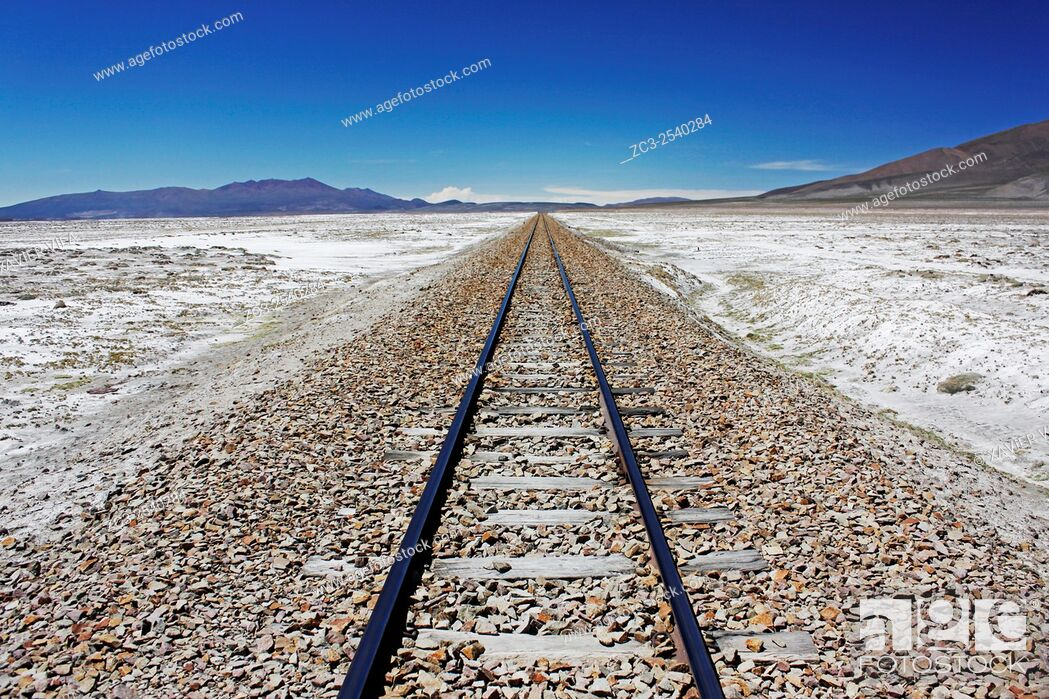 Stock Photo: Railway line to the direction of the country of Chile, near a military camp, salar de Uyuni, national reserve of Andean Fauna Eduardo Avaroa in the South Lipez.