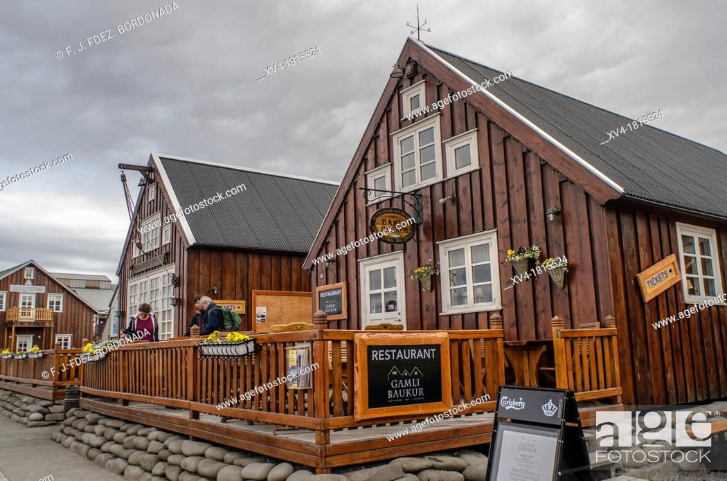 Stock Photo: House facades at Husavik, Fishing village, Skjalfandi bay Iceland.