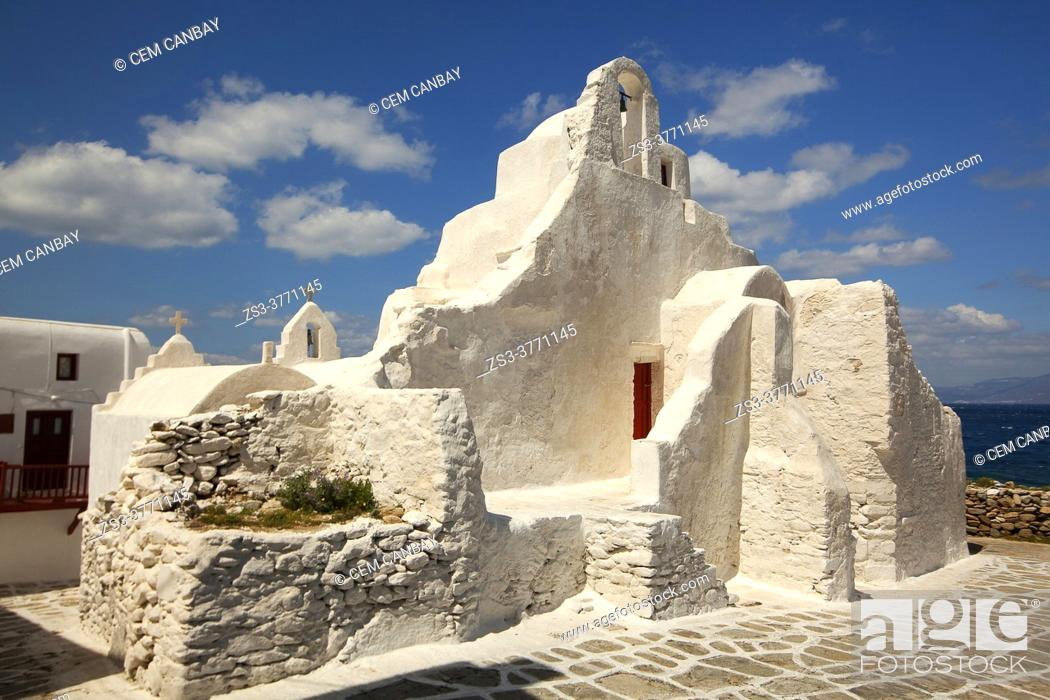 Stock Photo: View to the Paraportiani Church at the town center, Mykonos Island, Cyclades Islands, Greek Islands, Greece, Europe.