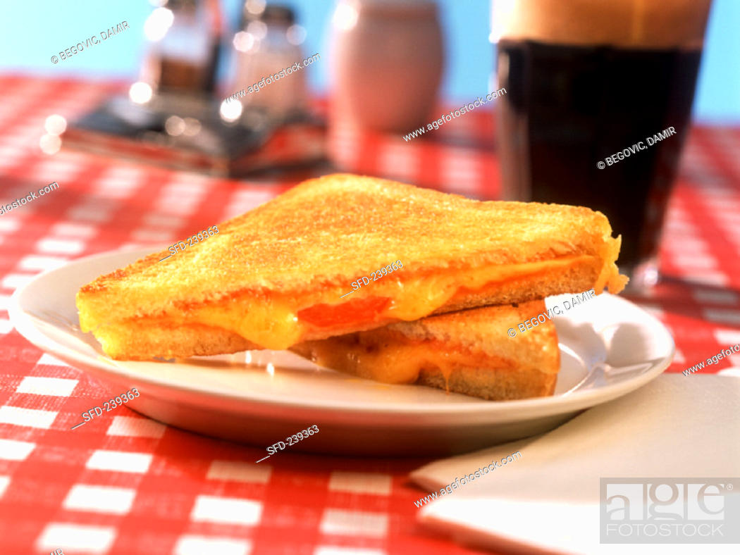Stock Photo: Grilled cheese sandwich, Coca Cola.