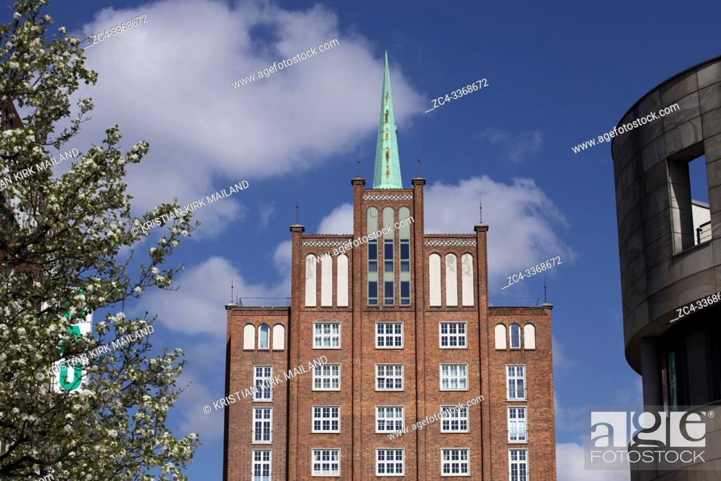 Stock Photo: The brick house Hoch-haus (tall house) in Rostock. Following the idea of every worker a palace it was built in 1955 and with clear reference to Rostocks.