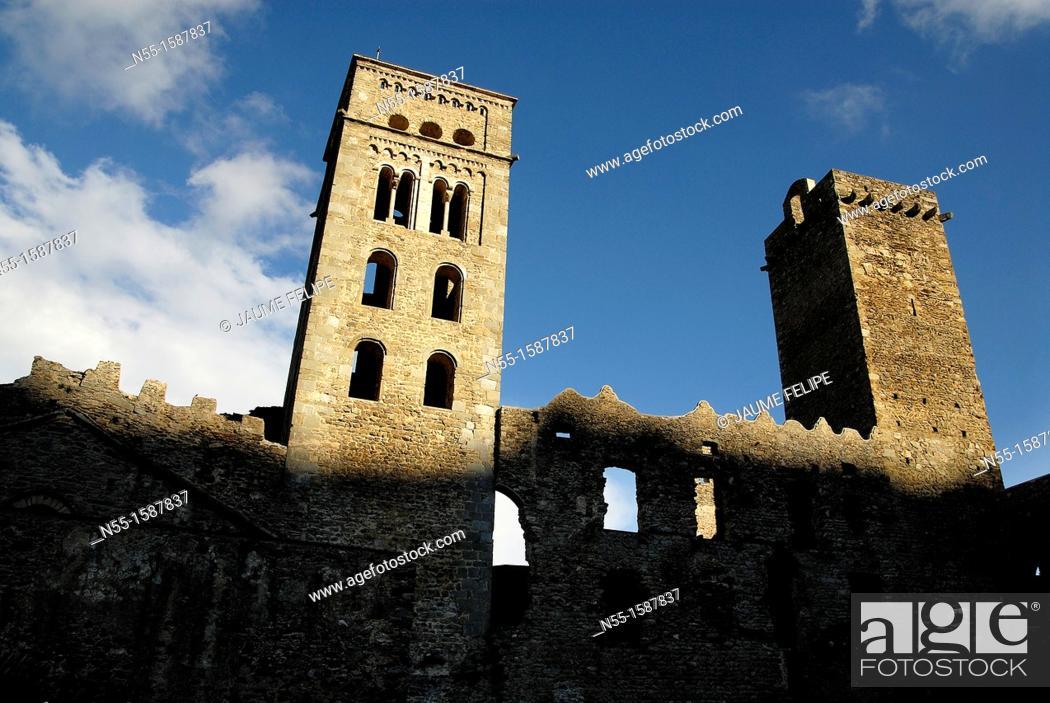 Stock Photo: Monastery of Sant Pere de Roda, XI century, Port de la Selva, Girona, Catalonia, Spain.