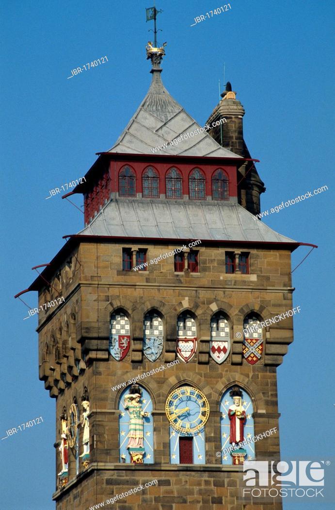 Stock Photo: Clock Tower, Cardiff Castle, Cardiff, Wales, United Kingdom, Europe.