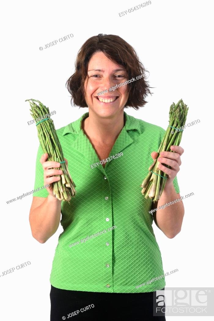 Stock Photo: portrait of a woman with asparagus on white background.