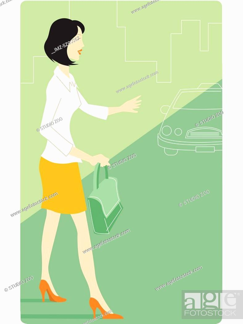 Stock Photo: Businesswoman signaling for a taxi.