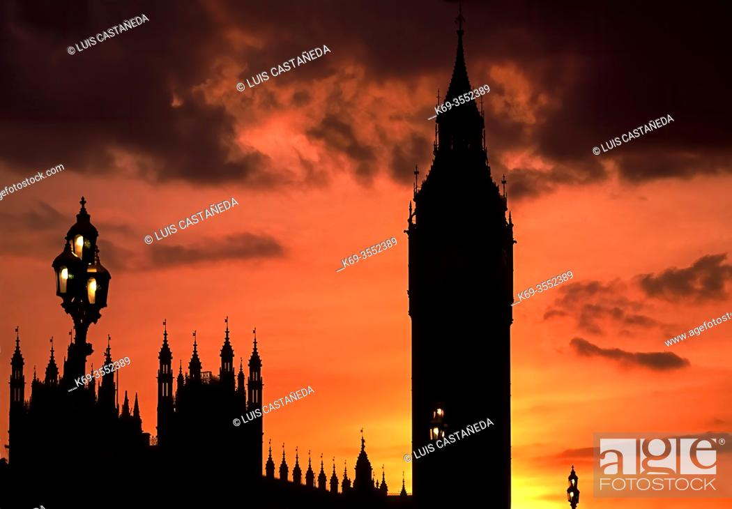Stock Photo: Silhouette of The Big Ben. Houses of Parliament. London. United Kingdom.