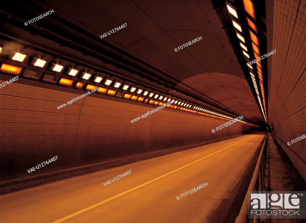 Stock Photo: row, road, illuminated, lighting, way, structure, tunnel.