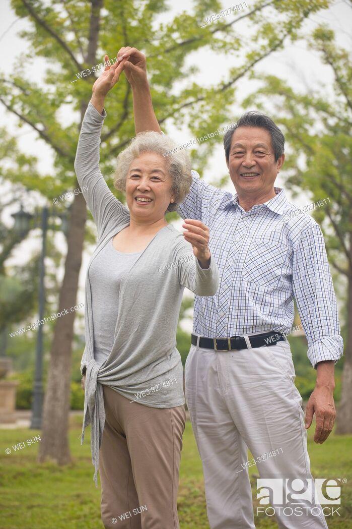 Stock Photo: Elderly couple outdoors.