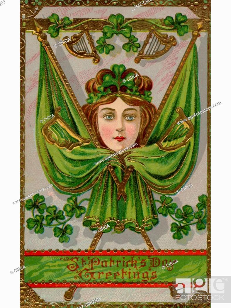 Stock Photo: A vintage St. Patricks Day Souvenir card with images of a woman, flags and harps.