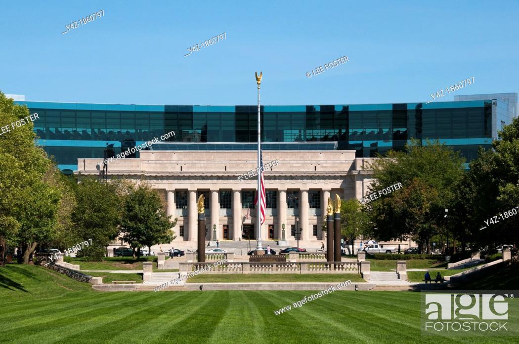 Stock Photo: USA, Indiana, Indianapolis, Indiana War Memorial Plaza, American Legion Building.