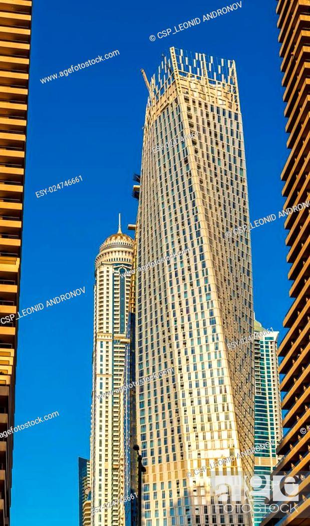 Stock Photo: Skyscrapers in World's Tallest Tower Block - Jumeirah, Dubai.
