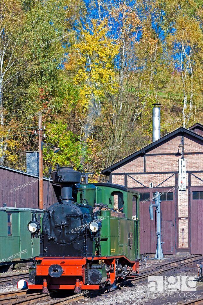 Stock Photo: steam locomotive, Johstadt, Germany.