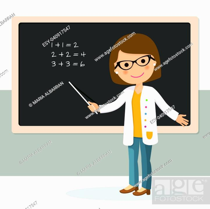 Stock Vector: Young female teacher on math lesson at blackboard in classroom. Teacher with pointer, teacher showing on board. Vector illustration.