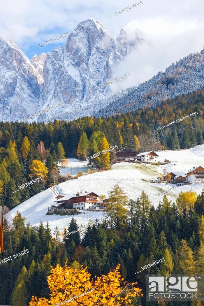 Stock Photo: Winter snow, St. Magdalena village, Geisler Spitzen, Val di Funes, Dolomites mountains, Trentino-Alto Adige, South Tyrol, Italy.