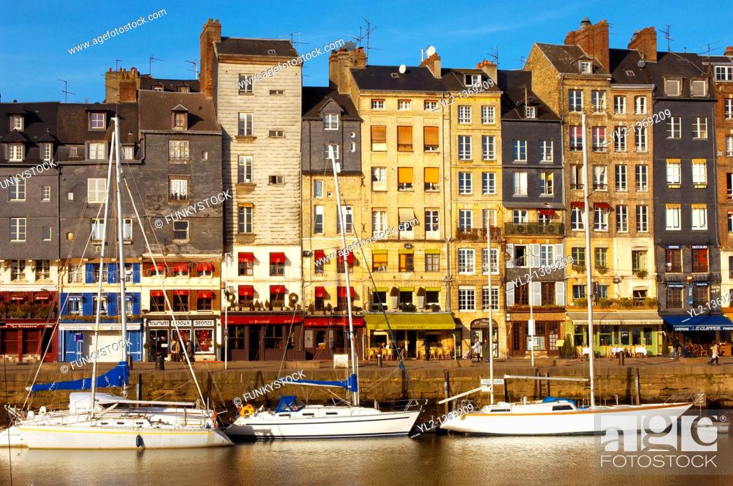 Stock Photo: harbour scene with yaughts and harbour restaurants  Honfleur, Normandy, France.