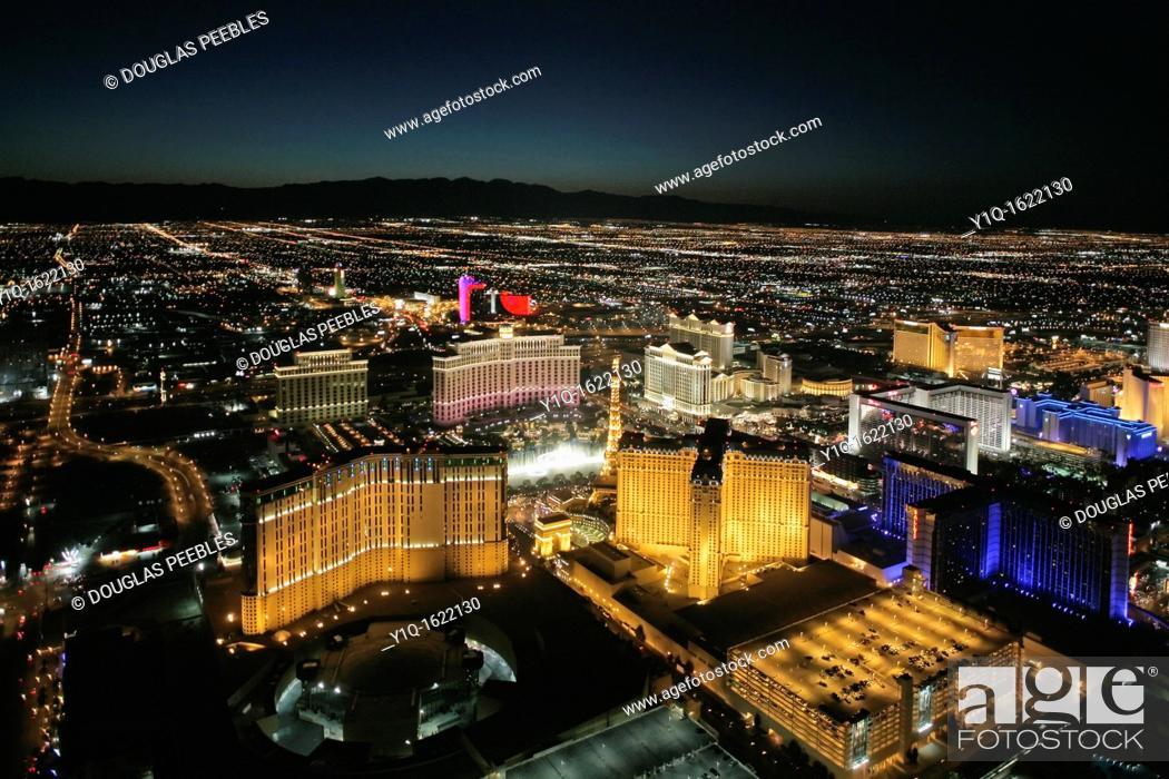 Stock Photo: Aerial tour, Las Vegas at night, Nevada, USA.