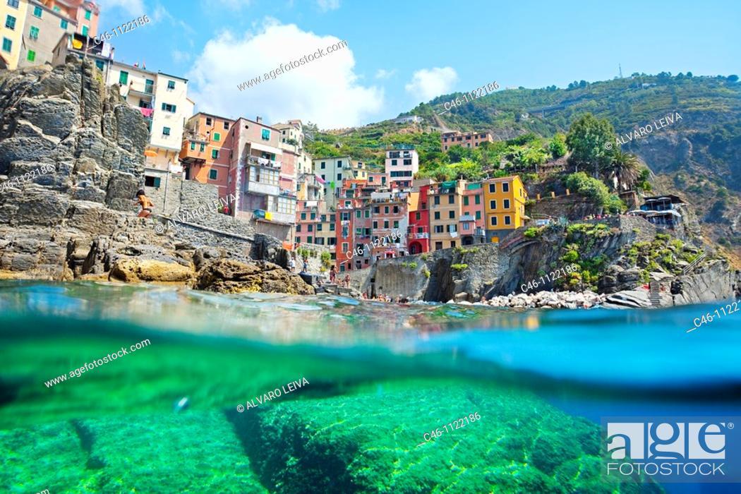 Stock Photo: Riomaggiore. Cinque Terre. Liguria. Italian Riviera. Italy.