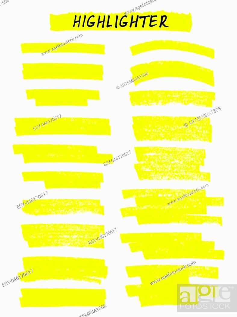 Stock Vector: Vector yellow highlighter brush lines on white background. Hand drawing.