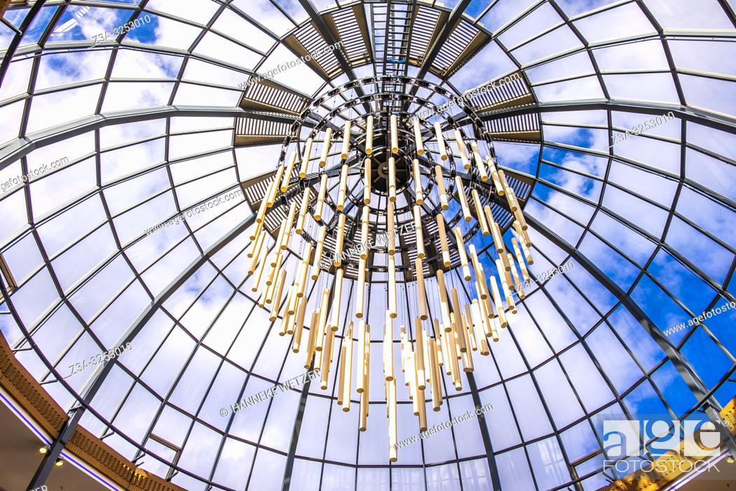 Stock Photo: Glass ceiling with monumental lighting in Eindhoven, The Netherlands, Europe.
