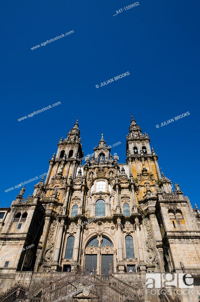 Stock Photo: extreme wide angle looking up at the front of the cathedral  Santiago de Compostela, Spain.