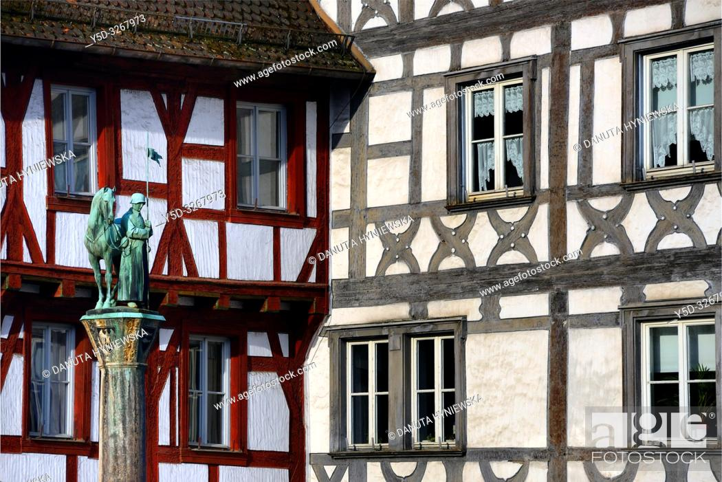 Stock Photo: Half-timbered buildings at Rathausplatz - Town hall square, in front Kriegerbrunnen - Warrior fountain, historic part of Forchheim, Forchheim.